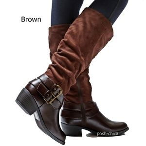 Shoes - Brown Slouch Western Buckle Knee High Riding Boots